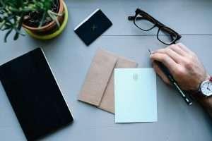 letter on a desk