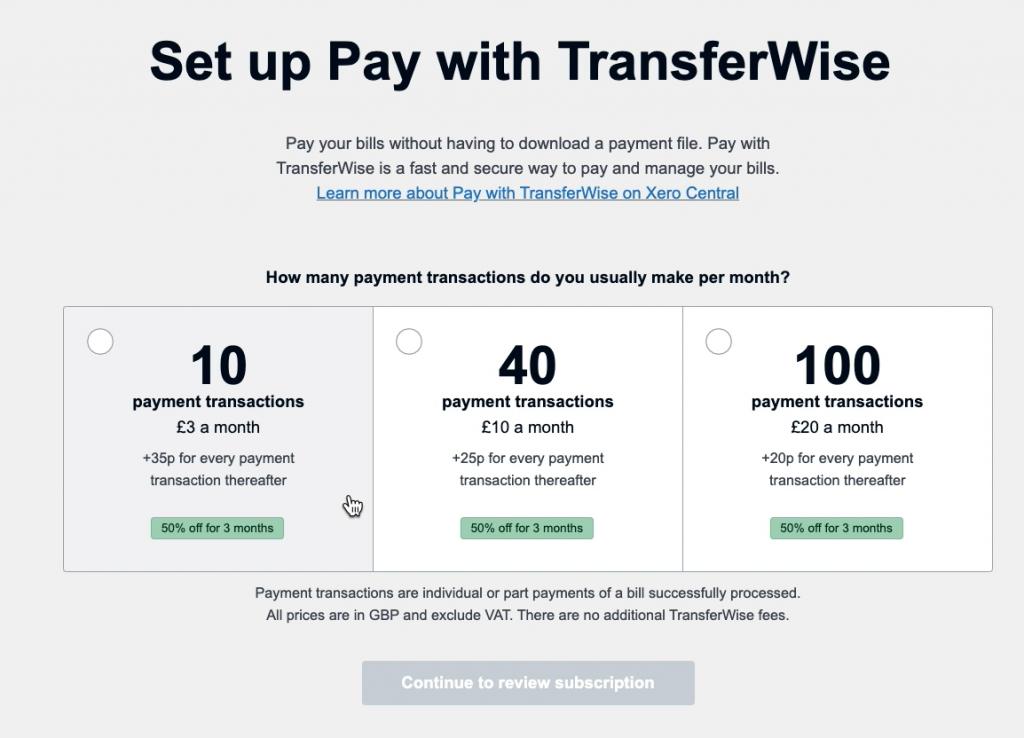 Pay with TransferWise Xero