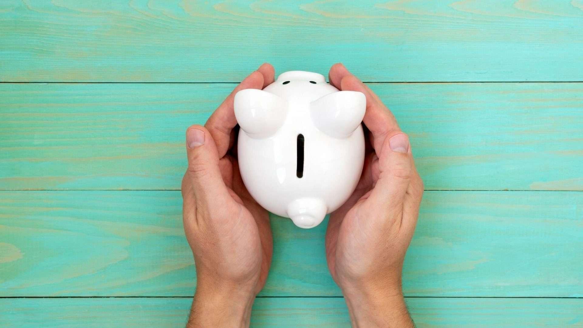 Hands holding a piggy bank money box